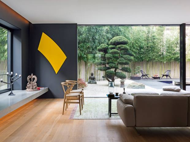 Meiré's house, with its modern Asian decor, has a dedicated meditation room and Zen garden