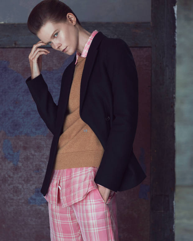 Victoria Beckham wool jacket, £1,495, cashmere jumper, £690, viscose shirt, £775, and matching trousers, £620