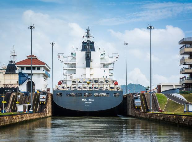 A container ship passes through the Panama Canal