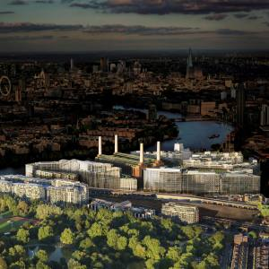 The regeneration of Nine Elms, with its town centre at Battersea Power Station, facing Chelsea directly to the north of the River Thames
