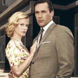An advertisement for cool, Mad Men's Don Draper (Jon Hamm, here with January Jones as his wife Betty) plays it straight with his white pocket handkerchief.