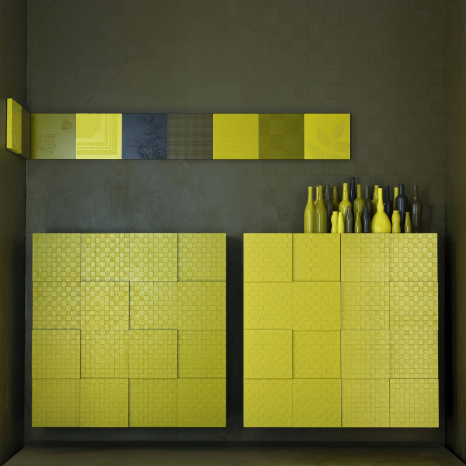 Quadro hanging cabinets with textured three-dimensional matt lacquered surface by Capo d'Opera, £5,775