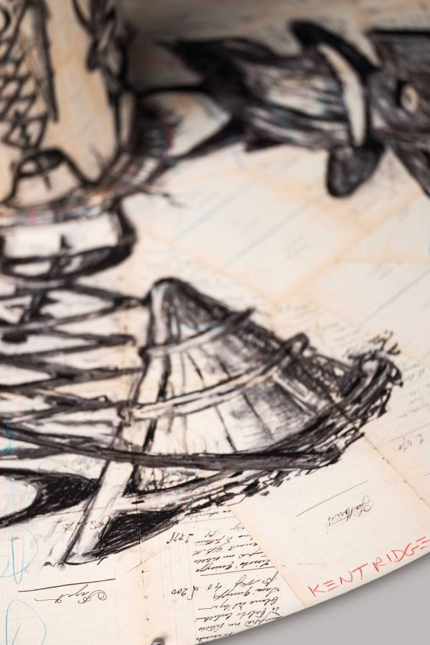 Kentridge's design features line drawings of secateurs, antique bottle openers and harvest workers drawn on pages from old Italian cash books