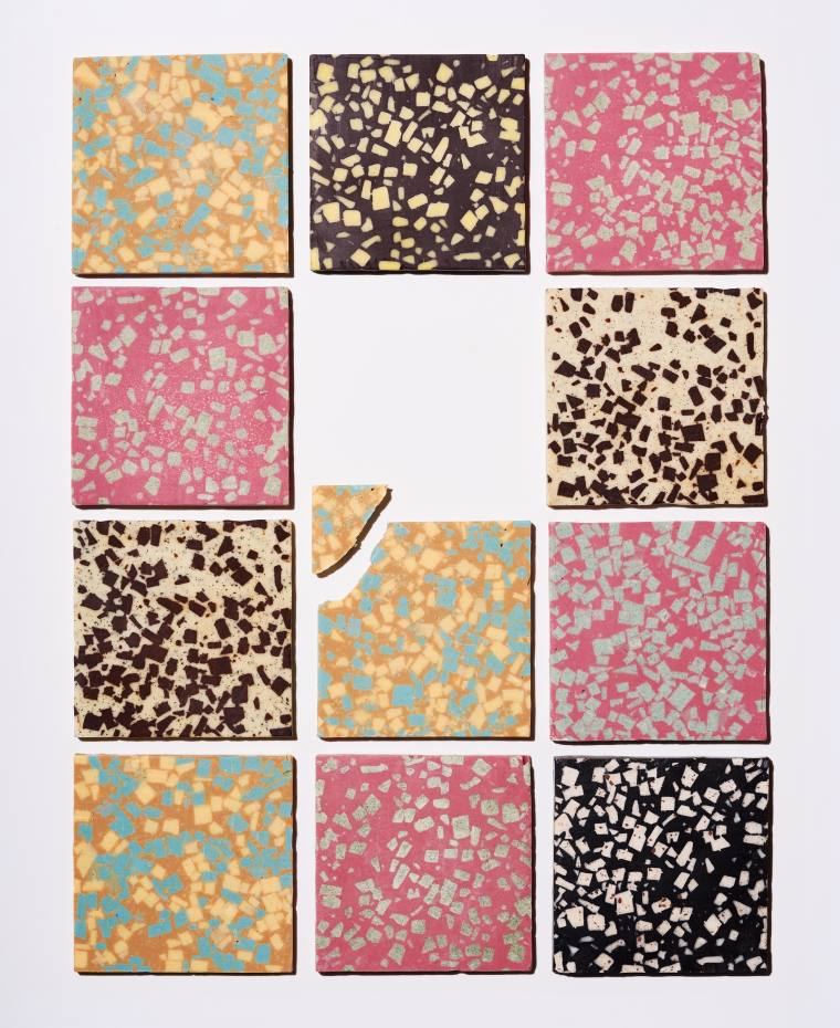 Brik handmade chocolate tiles in five flavours (salted caramel and passion fruit; orange, sesame and charcoal; ginger and lemongrass; Earl Grey; rosemary and lemon), £11.90 each