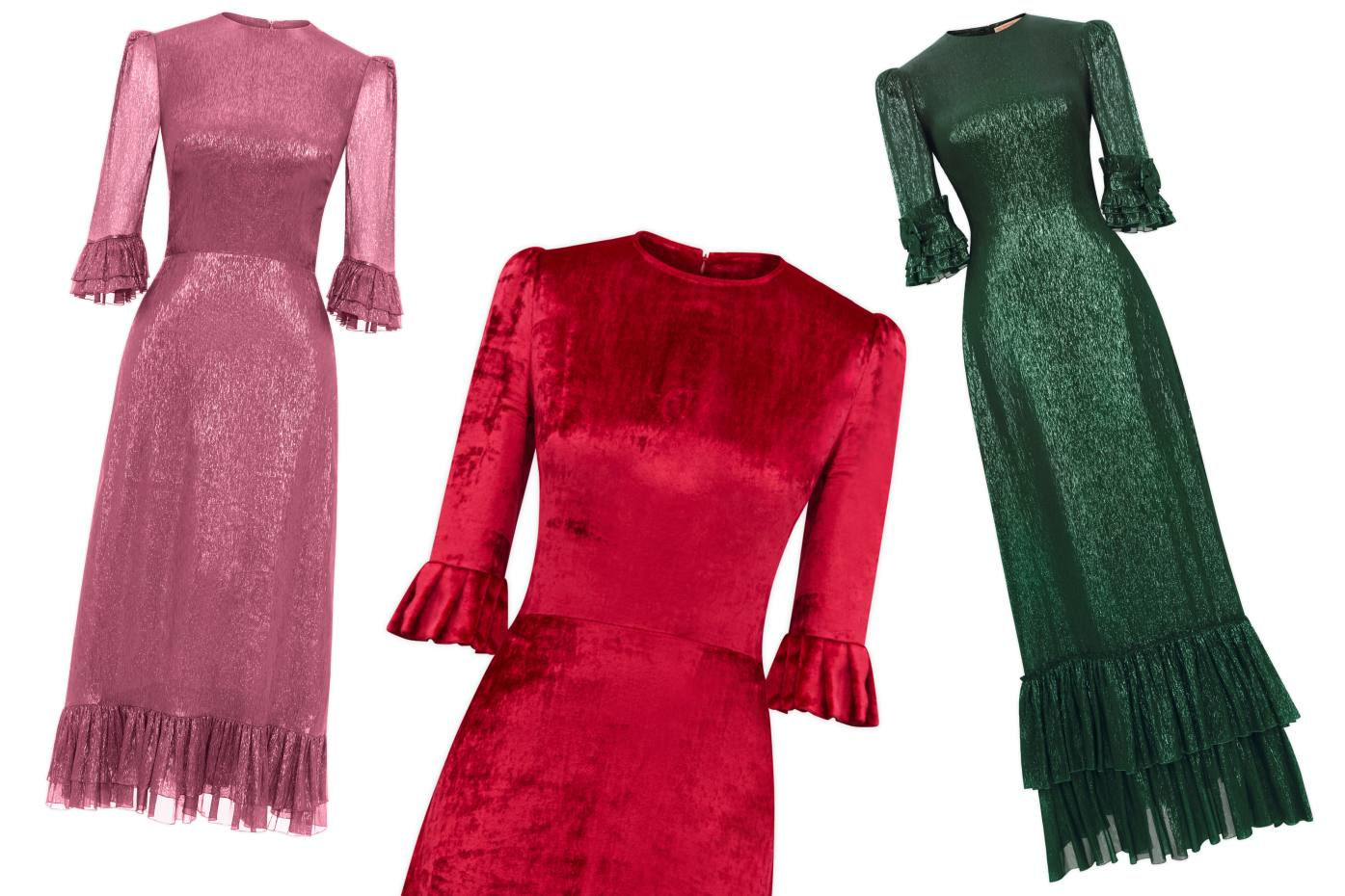 72534bbd From left: metallic silk Falconetti dress, £1,595. Velvet Festival dress, £