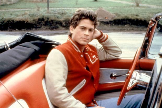 Rob Lowe in Oxford Blues (1984) wearing a letterman jacket