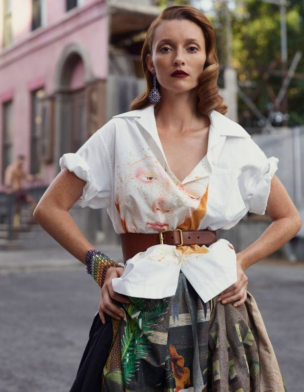 Prada cotton poplin shirt, £535, silk faille skirt, £2,560, and leather belt, £355. Chopard white gold, diamond and amethyst Haute Joaillerie earrings, and white gold, amethyst, cabochon garnet, topaz, peridot, citrine and Iolite Haute Joaillerie bracelet, both price on request