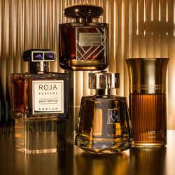 From far left: Roja Parfums Great Britain, £1,250 for 100ml parfum. Terry de Gunzburg Ombre Mercure Extrême, £235 for 100ml extrait de parfum. Ruth Mastenbroek Oxford, £80 for 100ml EDP. Liquides Imaginaires Tellus, £150 for 100ml EDP. Annick Goutal Ambre Sauvage, £166 for 75ml EDP. Ormonde Jayne Vanille d'Iris, £90 for 50ml EDP. Beaufort London 1805, £95 for 50ml EDP. Perfumer H Velvet, £175 for 100ml