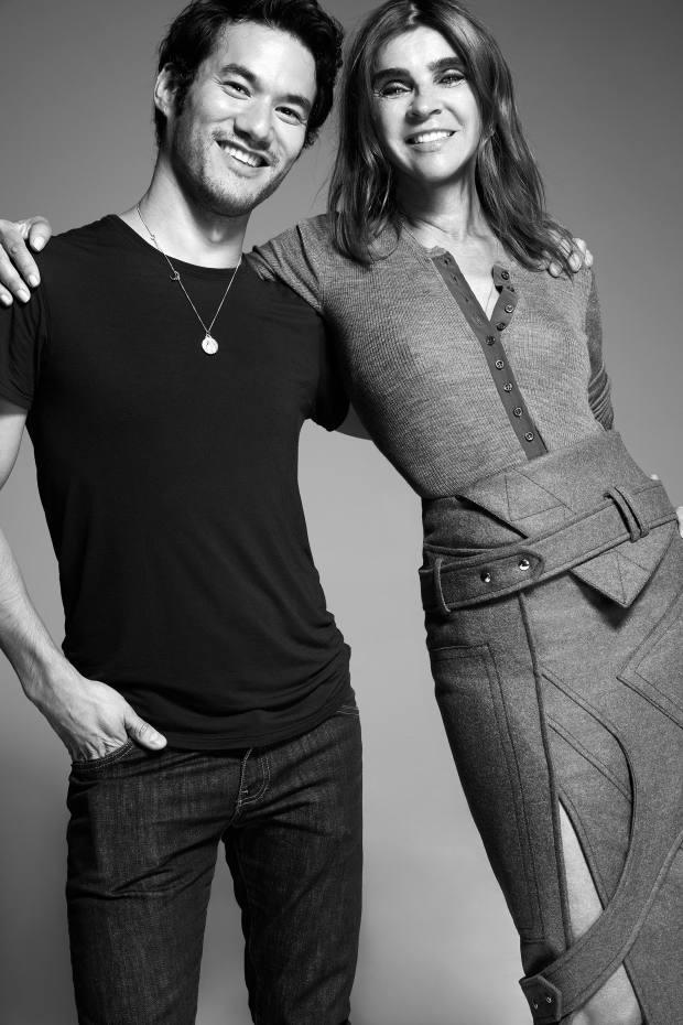 Fashion designer Joseph Altuzarra with former French Vogue editor Carine Roitfeld