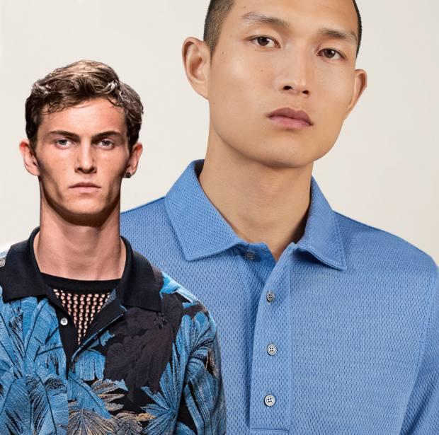From left: Salvatore Ferragamo mesh T-shirt, £415. Dunhill wool/silk-mix polo shirt, £250