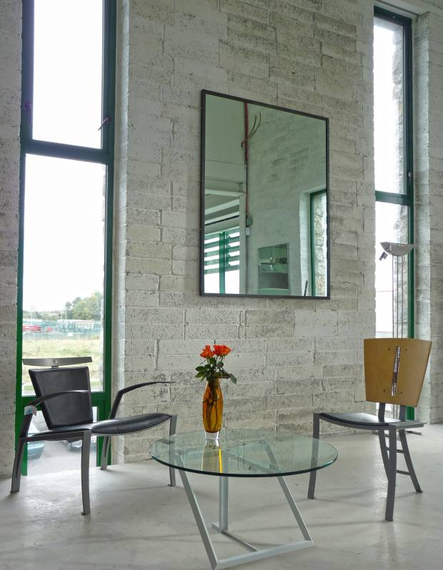 Shane Holland furniture, including the steel and glass LU coffee table, €950