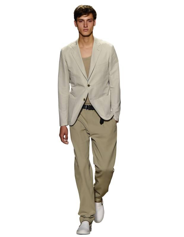 Hermés cotton/linen jacket, £1,830, linen top, £650, cotton trousers, £520, and cotton plimsolls, £510