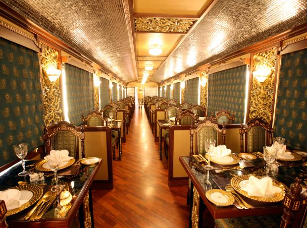 Mayur Mahal, one of the restaurants onboard the Maharajas' Express.