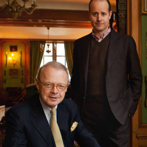 Pierre-Alexis Dumas, artistic director of Hermès (left), with CEO Patrick Thomas at the Emile Hermès Collection in Paris.