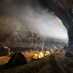 A campsite in the Hang Son Doong cave, part of a Cookson Adventures trip to Vietnam