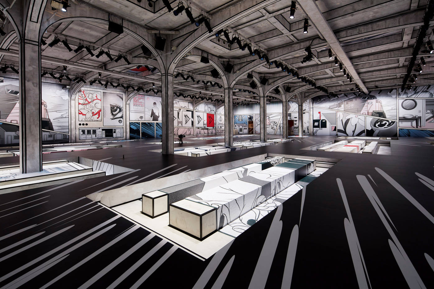 Prada's Milan headquarters was decorated with comic-strip-style panelling for a recent runway show