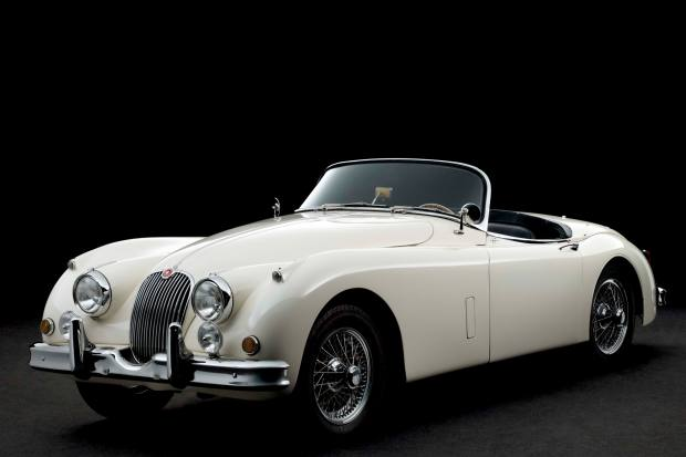 A Jaguar XK150 3.8 Roadster dating from 1960