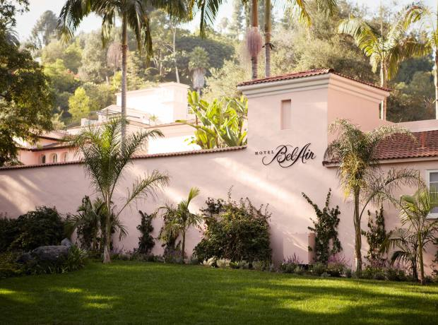 The signature pink exterior of the Hotel's Bel-Air's Spanish colonial architecture.