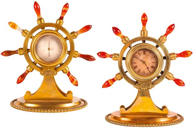 Victorian clock and barometer desk set, £7,500, from Mayfair Gallery