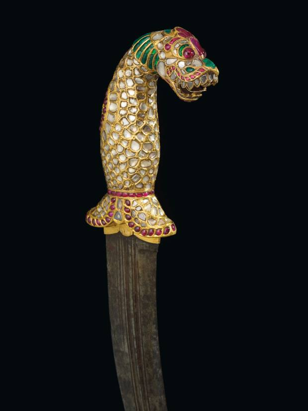 A steel dagger with a gold, diamond, ruby and emerald beast head is a masterclass in the Indian kundan goldsmithing technique, estimate $500,000-$700,000
