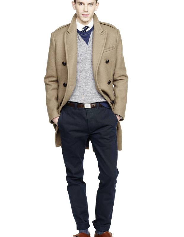 Fox Brothers wool coat, £875, cotton sweatshirt, £112, cotton chinos, £66, and leather shoes, price on request