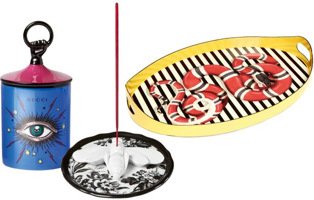 A range of eye-catching motifs appear on candles, £160 each, incense holders, £140 each, and metal trays, £795 each