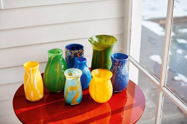 Handblown glass vasesby Gordon's husband, Paul Arnhold