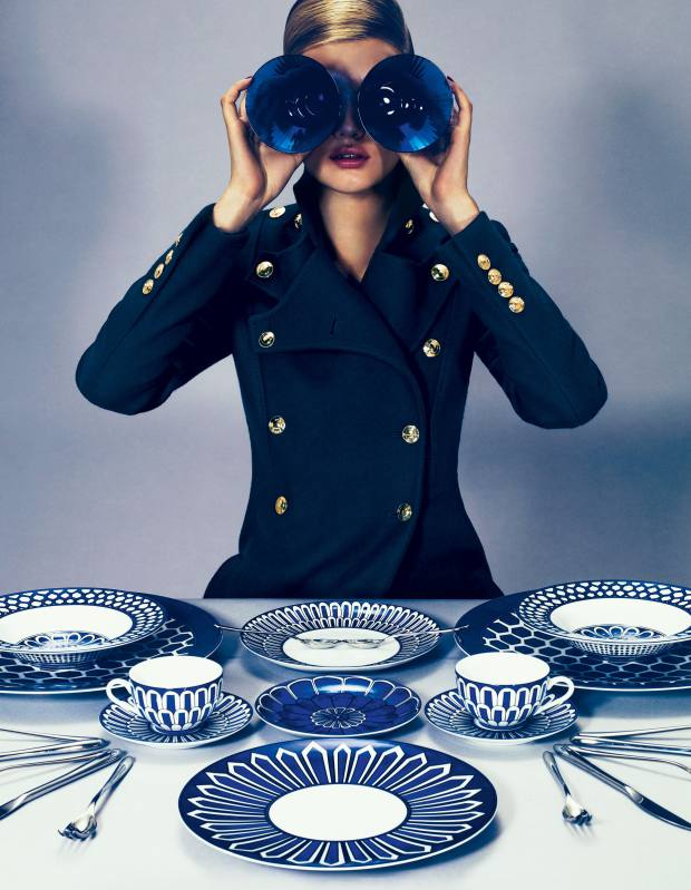 Long wool coat, £1,400, by Gucci. Crystal water glasses, £153 each, porcelain presentation plate, £167, American dinner plates, £81 each, dessert plate, £61, bread-and-butter plate, £52, soup plates, £90 each, teacups and saucers, £116 each set, silver-plated dinner forks, £32 each, dessert forks, £29 each, dinner knives, £37 each, dessert knives, £37 each, dinner spoons, £32 each, teaspoons, £28 each, and dessert spoons, £29 each, all by Hermès.Gucci, 18 Sloane Street, London SW1 (020-7235 6707; www.gucci.com). Harrods, 87-135 Brompton Road, London SW1 (020-7730 1234; www.harrods.com). Hermès, 155 New Bond Street, London W1 (020-799 8856; www.hermes.com) and see Harrods.