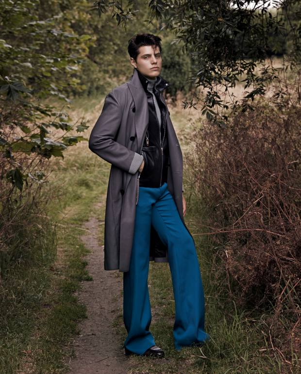 Berluti deer-leather double-breasted coat,£6,650. Celineby Hedi Slimane leather and shearling biker jacket, £4,750. Tom Ford ribbed silk rollneck, £1,090. Givenchy polyester trousers, £378. Santoni leather loafers, €620
