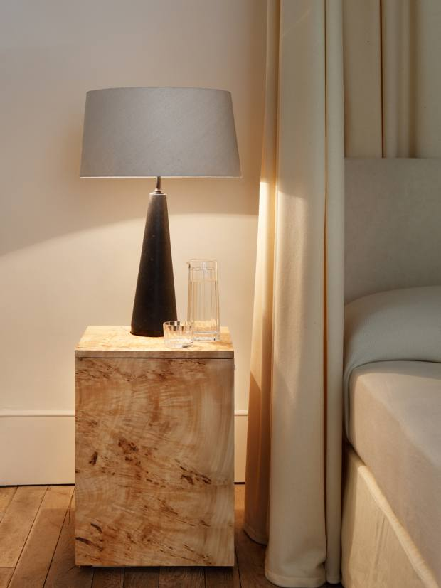 Rose Uniacke poplar-burr cabinet, £3,300, and marble Cone lamp, £3,120 (excluding lampshade)