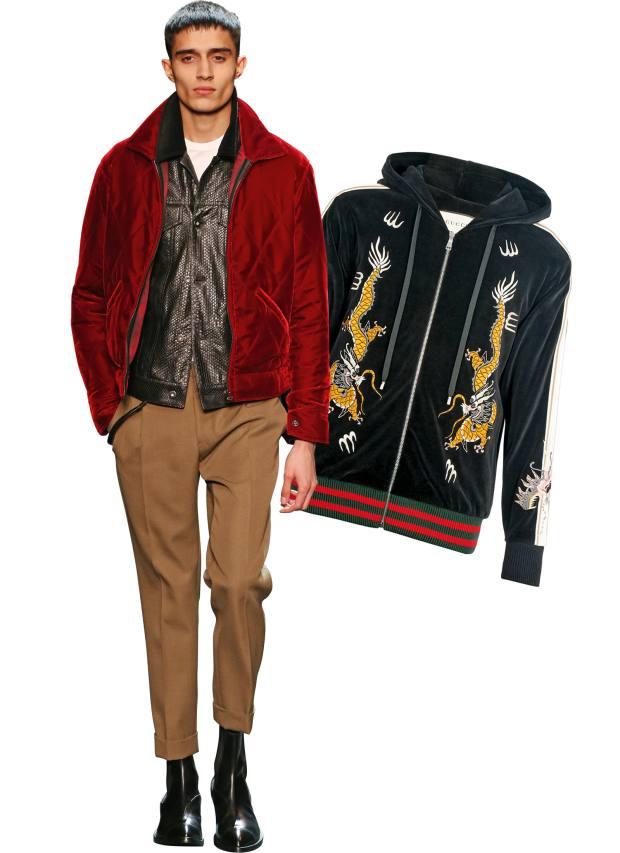 From left: Berluti velvet blouson, £2,560. Gucci embroidered velvet hoodie, £1,370
