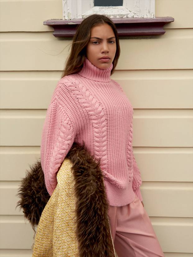 Dancer Maiya Smith in a knitted jumper from the Wickstead collection, which is priced at £250-£1,000
