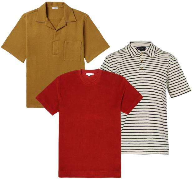 Clockwise from top left: Camoshita cotton-jersey polo shirt, £205, from Mr Porter. Howlin' cotton/polyester polo shirt, £105 at Matchesfashion.com. Sunspel cotton-towelling T-shirt, £75