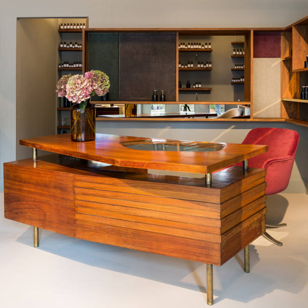 Lyn Harris's 1950s Milanese rosewood and brass desk