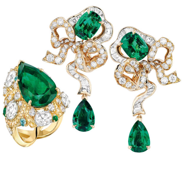 Dior gold, diamond and emerald Fontange Emeraude earrings, price on request. Chanel gold, diamond, emerald and tourmaline Epi d'Eté ring, price on request