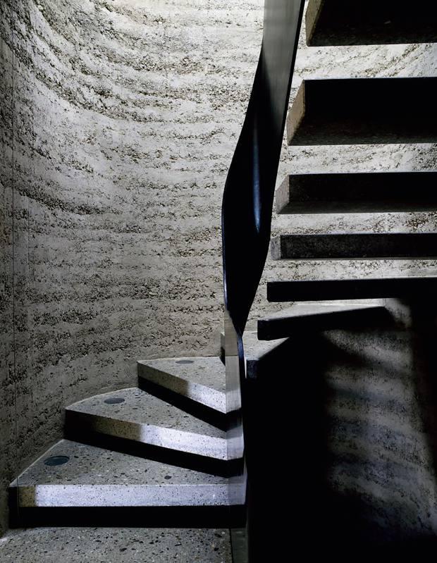 The stairwell in Lehm Ton Erde's house in Schlins, Austria, price on request