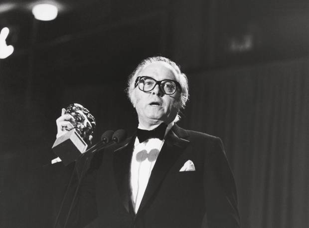 Sir Richard Attenborough, winner of the Direction Award and the Film Award for Gandhi, as well as the Fellowship, at the Bafta Film Awards in 1983