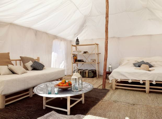 Tent interior at Scarabeo Camp, in the Agafay Desert, Morocco