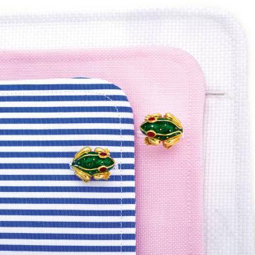 David Webb enamel and vitrum pastae frog cufflinks, sold for €4,750 atSotheby's