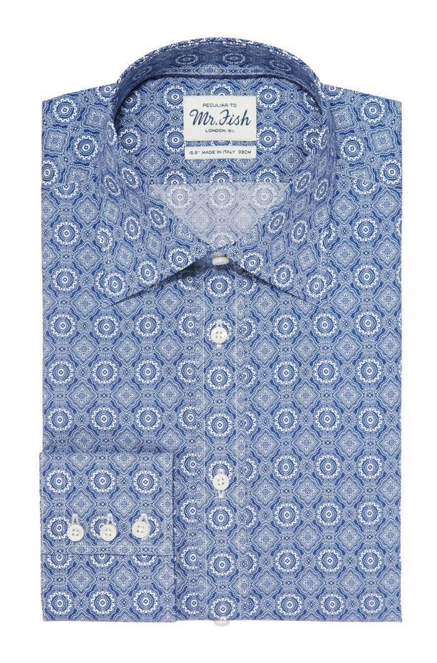 Mr Fish cotton Blue Kaleidoscope shirt, £195