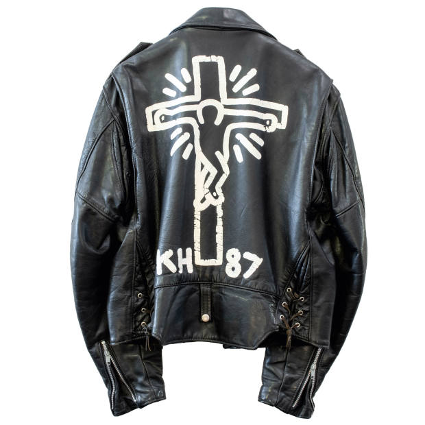 Broom's leather jacket painted by Keith Haring