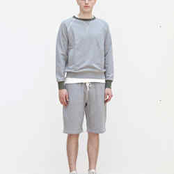 Nigel Cabourn cotton jersey Army Gym crewneck, £150, and gym shorts, £99