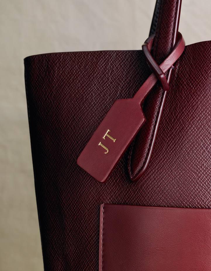 Smythson leather Panama bag, £550 (gold-stamping £6.95 per letter)