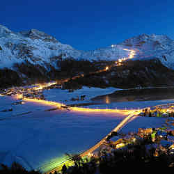Kulm Hotel guests can ski the night-lit run of the Corvatsch and privately rent the mountaintop