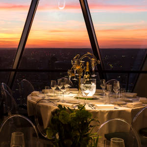 The new private dining rooms at Searcys at The Gherkin sit on the 38th floor of the Norman Foster-designed building