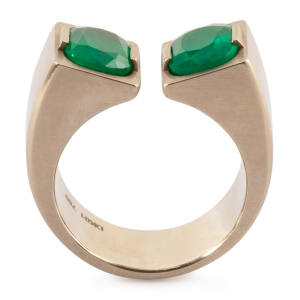 Dina Kamal twin emerald pinky ring in brushed 18ct beige gold, from £13,500