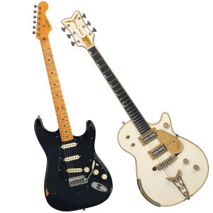 David Gilmour's 1969 Black Fender Stratocaster and Gretsch White Penguin 6134