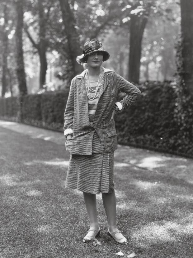 Coco Chanel wearing a Chanel tweed suit, Paris, 1929