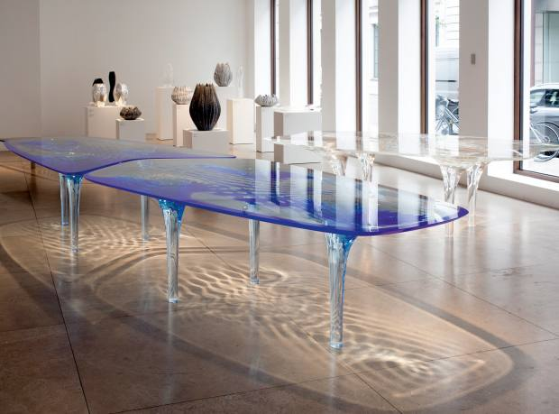 Zaha Hadid acrylic and Plexiglas Liquid Glacial dining table, price on request