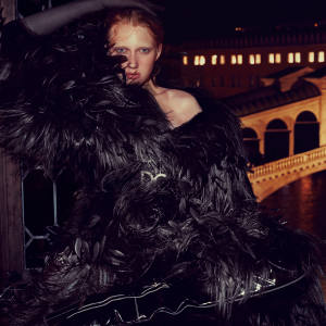 Dolce & Gabbana goat fur and feather coat, about €22,500, and leather belt with crystal buckle, about €945. Dents tulle evening gloves, £16
